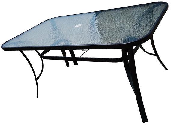 Seasonal Trends Steel Glass Top Table, 38x60 in