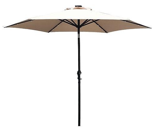 Seasonal Trends 9 Ft Tilt/Crank Market Umbrella with LED Lights, Taupe