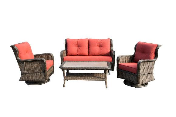 Seasonal Trends Woodbury 4-Piece Set, Orange/Red