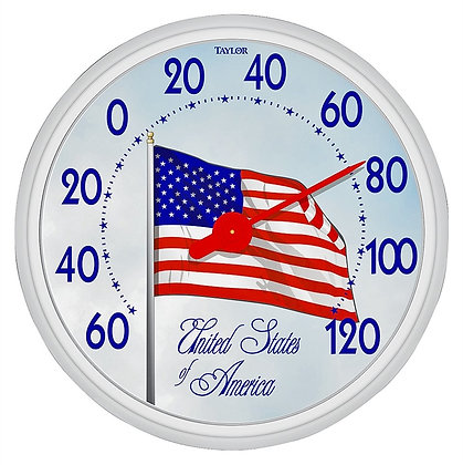 """Taylor 6729 American Flag Dial Thermometer, 13.5"""""""