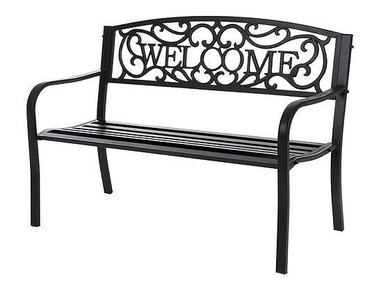 """Seasonal Trends """"Welcome"""" Steel Park Bench"""
