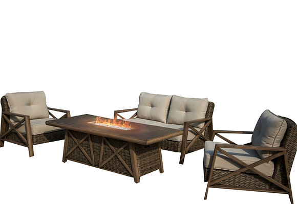 Seasonal Trends Yukon 4pc Deep Seating Fire Pit Set with 72 in Table