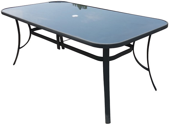 Seasonal Trends Glass Top Table, 38x60 in with Black Top