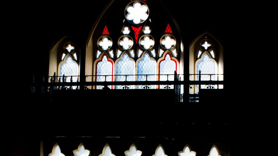 church windows, st columba's, chuch of scotland, Jersey channel islands