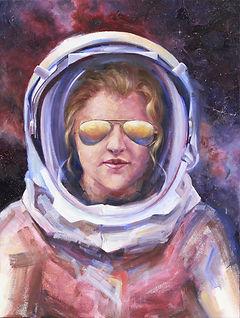 Oil painting by fine artist, Amber Allen. Self portrait.