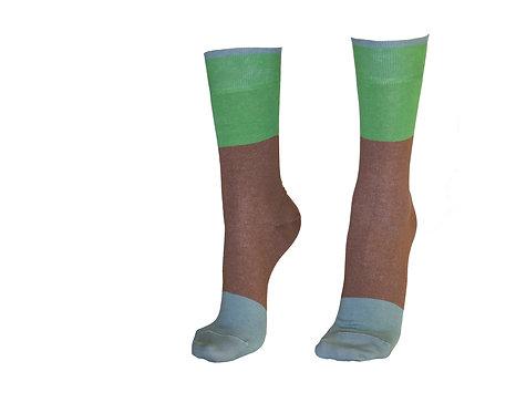 ქალის წინდა დიზანით  (STYLISH) კოდი TIFLIS59 ზომა 36-39 ფერი მწვანე-ყავისფერი