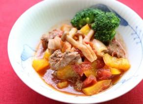 15minごはん・レンジ加熱で【牛肉のトマト煮】
