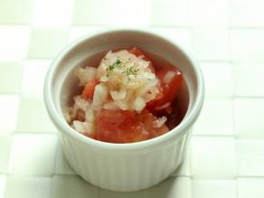 6月のワンプレート♪【新玉とトマトのマリネ】【そら豆のポタージュ】