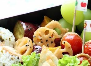 9月のワンプレート♪【さつま芋とレンコンの飴だき】【ぶどうゼリー】