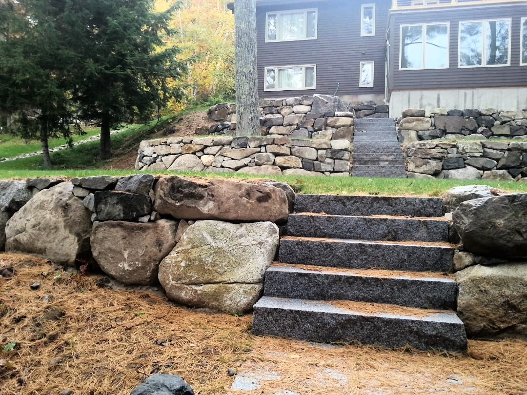 Granite steps to the lake