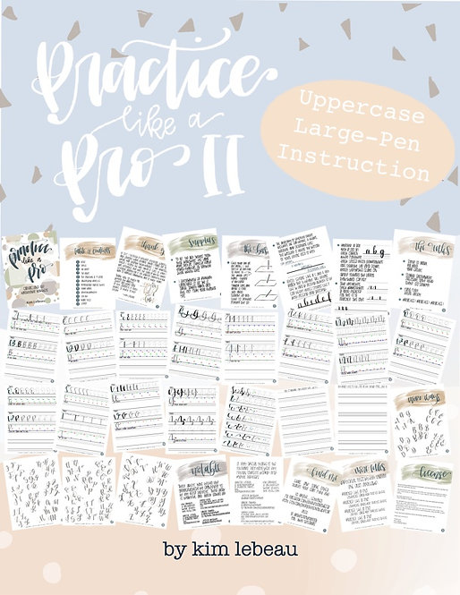 Practice Like a Pro II - Large Pen Uppercase Practice - Hand Lettering