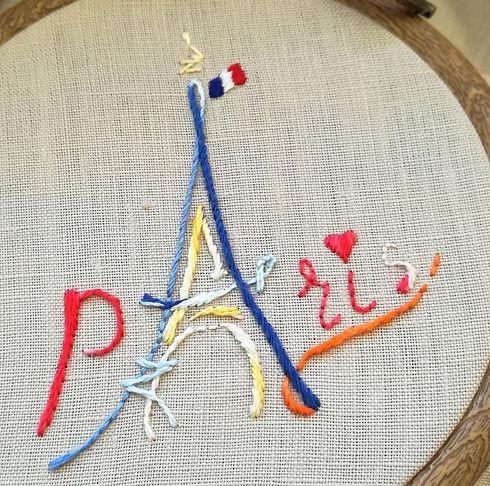 Paris brodé-passé plat- point de tige -f