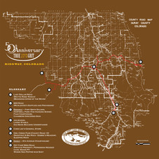 Ouray County Map for True Grit's 50th Anniversary - Brown