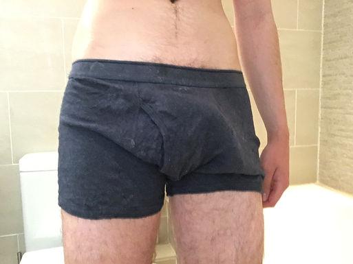 Blue M&S cum stained boxer briefs -