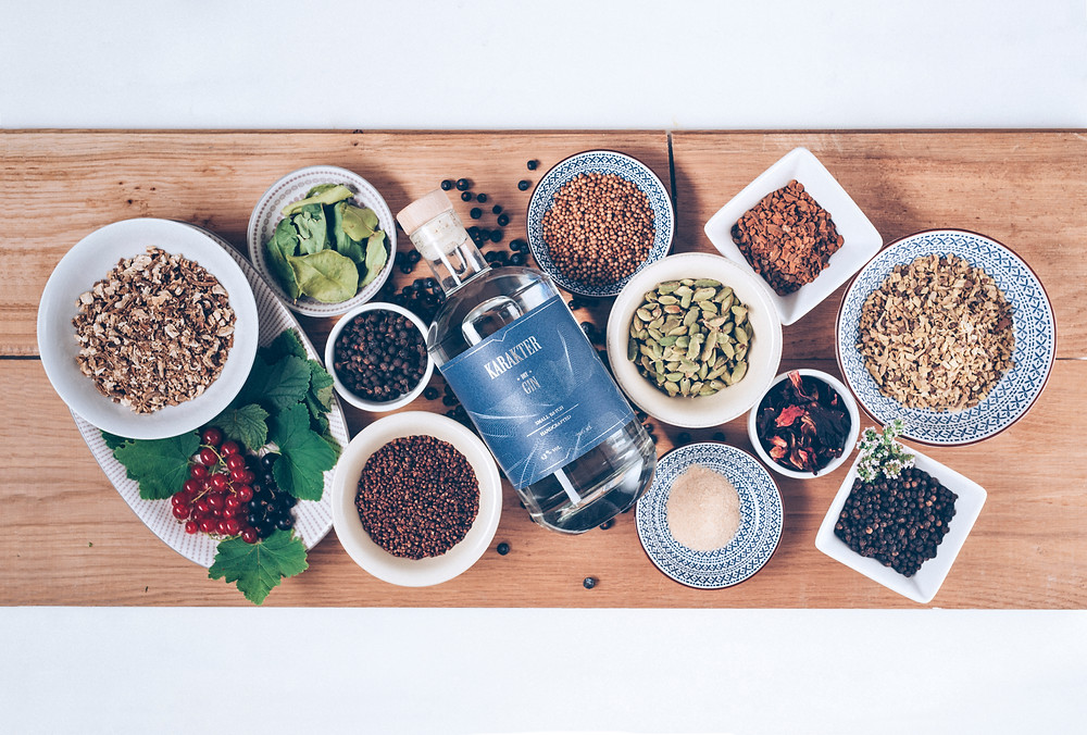 Karakter Gin and local botanicals which are used in the process