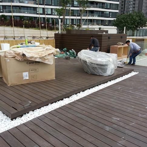 貝沙灣戶外木地板工程2