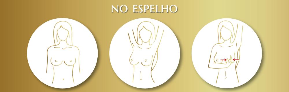 campanha de autoexame do outro rosa com dicas de prevenção do câncer de mama com a Lady's Secret dando dicas de toque em frente ao espelho