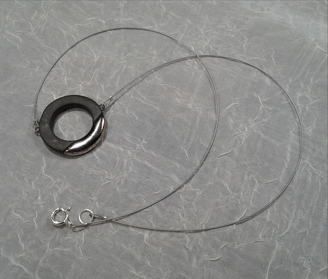 Black and Platinum Lustre Ring Pendant on Cable