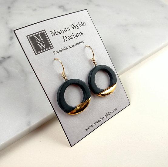 Black and Gold Lustre Ring Earrings: Horizontal