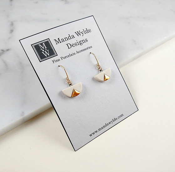 White and Gold Smooth Chandelier Small Dangle Earrings