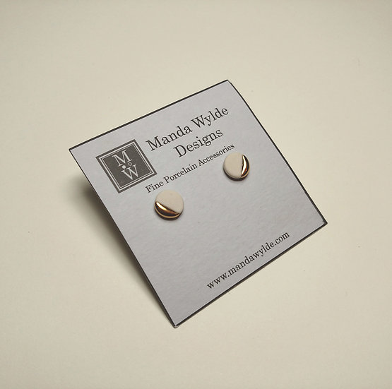 White and Gold Lustre Studs