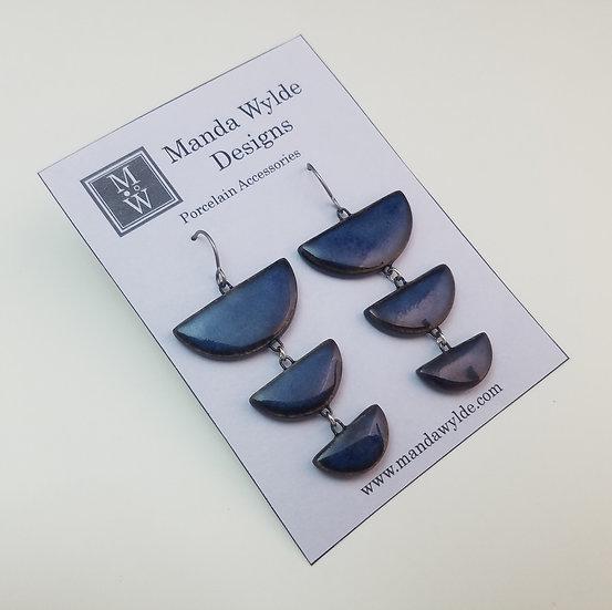 Tri-Level Chandelier Earrings in Deep Sea