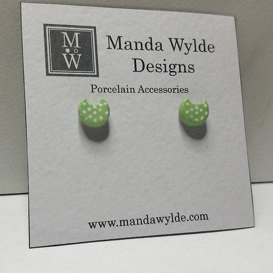 Green with White Dots Kitten Post Earrings