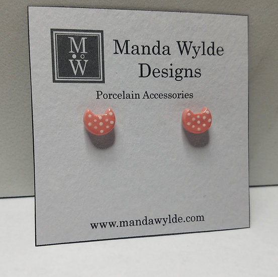 Pink with White Dots Kitten Post Earrings