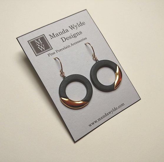 Black and Gold Lustre Ring Earrings: Diagonal
