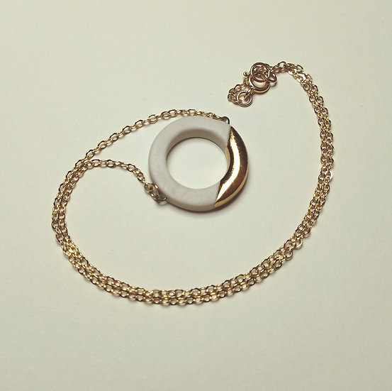 White and Gold Lustre Ring Necklace on Chain