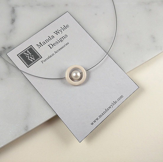 Timeless Elegance Single Pearl Necklace in White