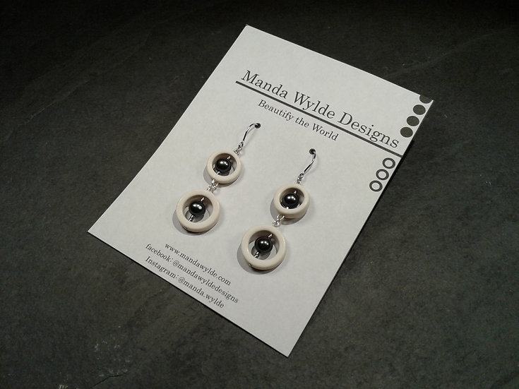 Timeless Elegance Double White with Black Pearl Earrings
