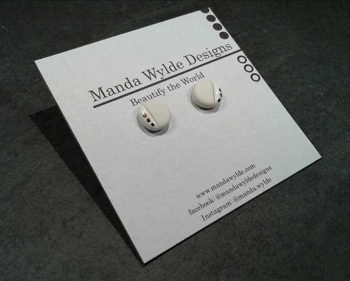 White and White with Platinum Lustre Accents Studs