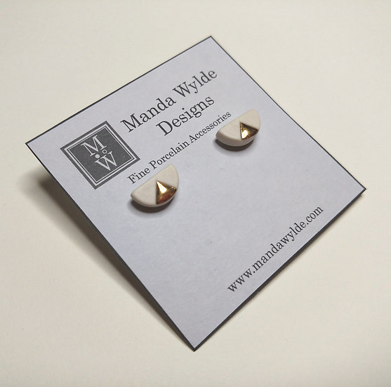 White and Gold Smooth Chandelier Studs
