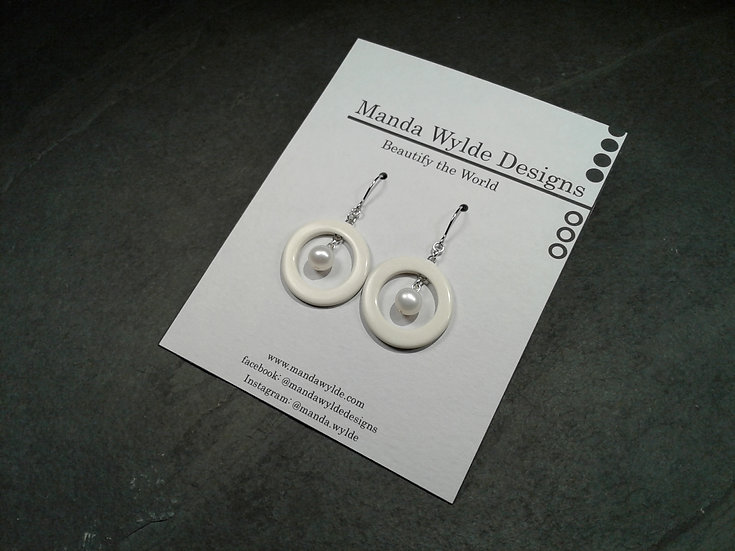 Nouveau White with White Pearl Earrings