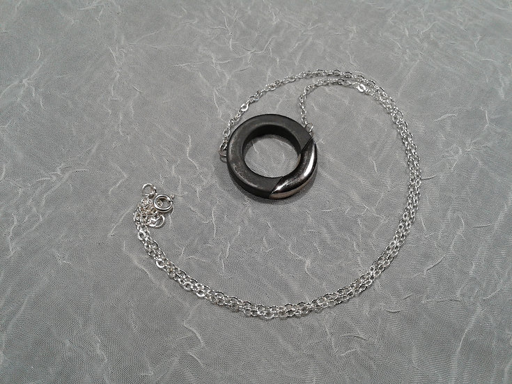 Black and Platinum Lustre Ring Pendant on Sterling Chain