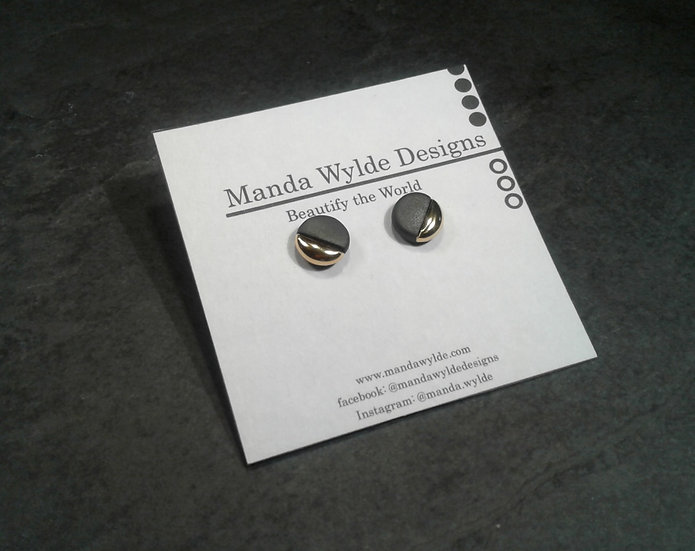 Black and Gold Lustre Studs