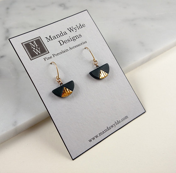 Black and Gold Textured Chandelier Small Dangle Earrings