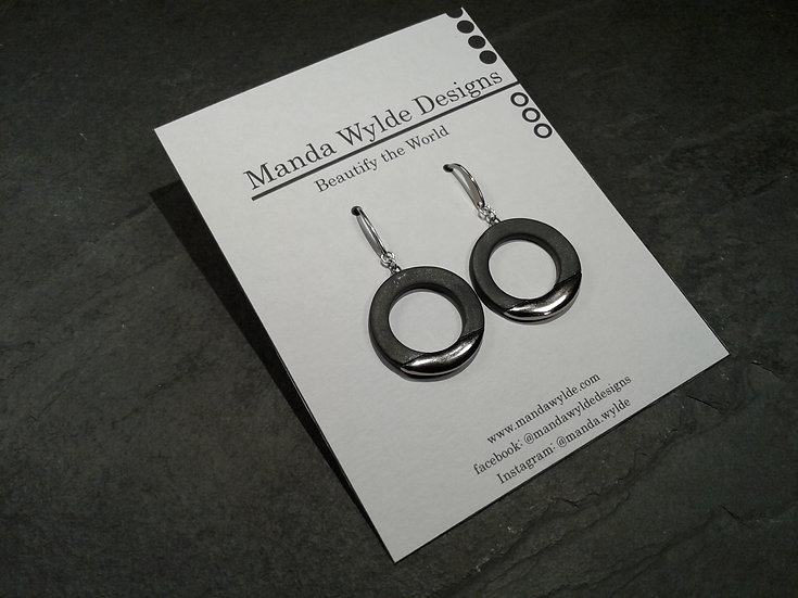 Black and Platinum Lustre Ring Earrings: Horizontal