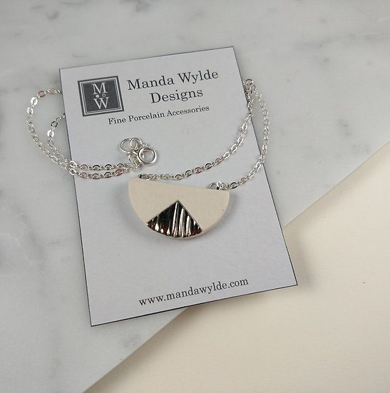 Chandelier White and Platinum Textured Necklace