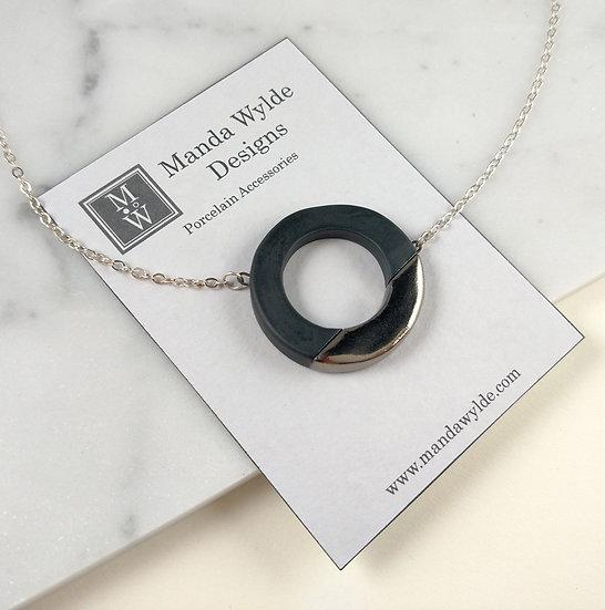 Black and Platinum Large Lustre Ring Necklace