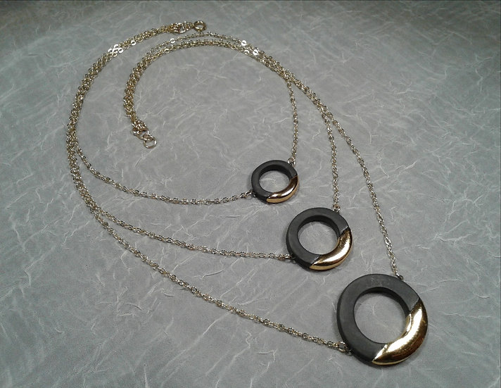 Black and Gold Lustre Trio Necklace