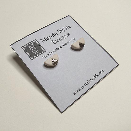 White and Platinum Textured Chandelier Studs