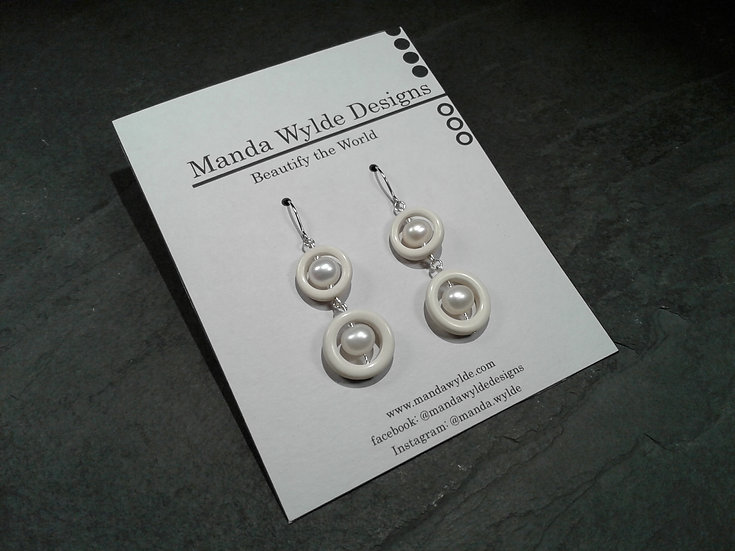 Timeless Elegance Double White with White Pearl Earrings
