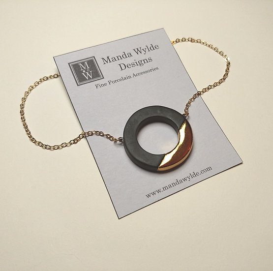 Black and Gold Large Lustre Ring Necklace