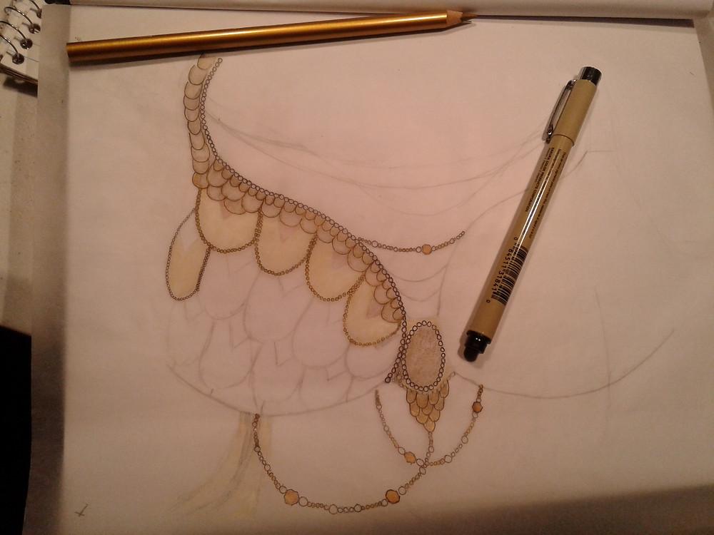 Initial Sketch of Bra Design