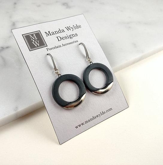 Black and Platinum Lustre Ring Earrings: Horizontal