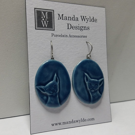 Hand-carved Blue Oval Happy Cat Earrings