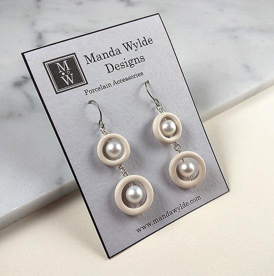 Timeless Elegance Double Pearl Earrings in White