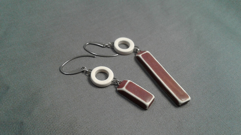 White and Pink Asymmetrical Hook Earrings